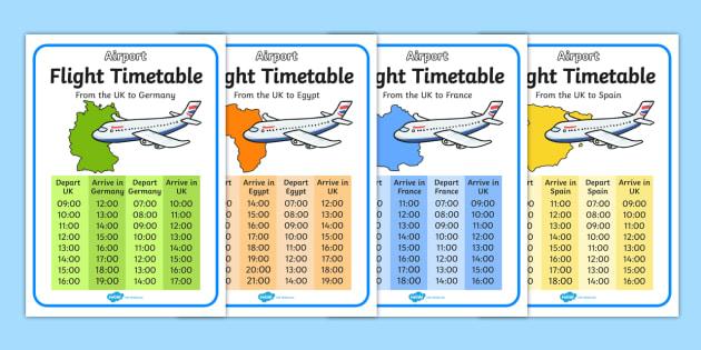 Airport International Flight Timetable - Airport, role play, roleplay, holidays, holiday, flight, timetable, airports, plane, jet, arrivals, departures, pilot, summer, sun, sand