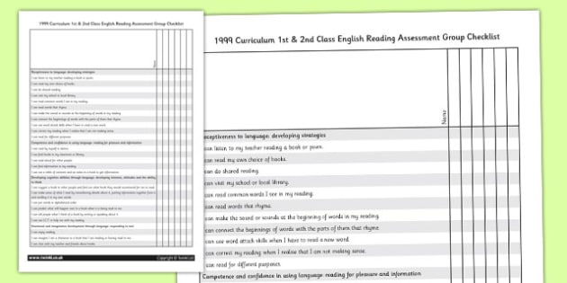 1999 Curriculum 1st & 2nd Class English Reading Assessment Group Checklist - Ireland, Irish, read