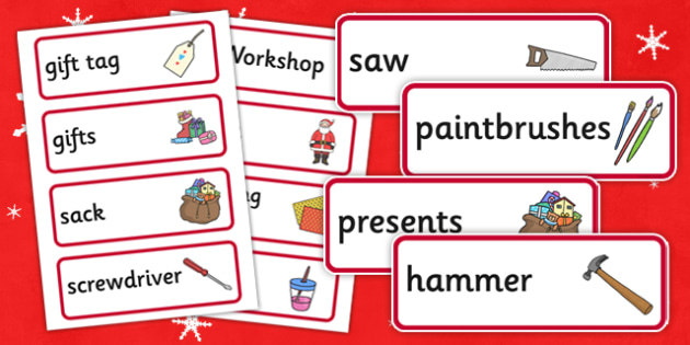 Santa's Workshop Role Play Word Cards -  Christmas, role play words, Grotto, workshop, elf, elves, Santa, Father Christmas, word cards, flashcards, tree, advent, nativity, santa, father christmas, Jesus, tree, stocking, present, activity, cracker, an