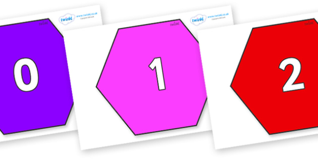 Numbers 0-31 on Hexagons - 0-31, foundation stage numeracy, Number recognition, Number flashcards, counting, number frieze, Display numbers, number posters
