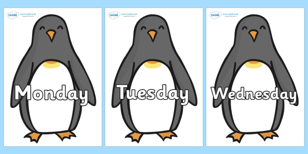 Days of the Week on Penguins - Days of the Week, Weeks poster, week, display, poster, frieze, Days, Day, Monday, Tuesday, Wednesday, Thursday, Friday, Saturday, Sunday