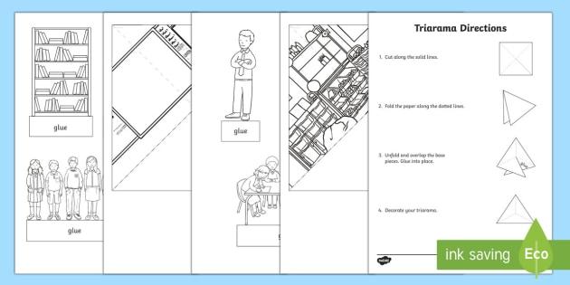 Classroom Themed Triarama - triorama, back to school, start of the year, classroom art, diorama, transition,Australia
