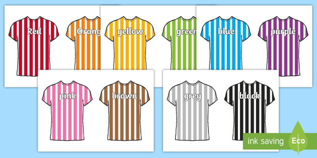 Colour Names on Football Shirts - colouring, names, football