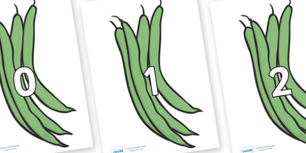 Numbers 0-31 on Green Beans - 0-31, foundation stage numeracy, Number recognition, Number flashcards, counting, number frieze, Display numbers, number posters