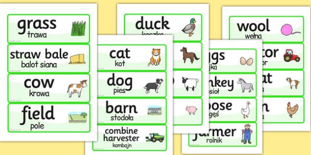 Farm Word Cards Polish Translation - farm, word cards, polish, cards