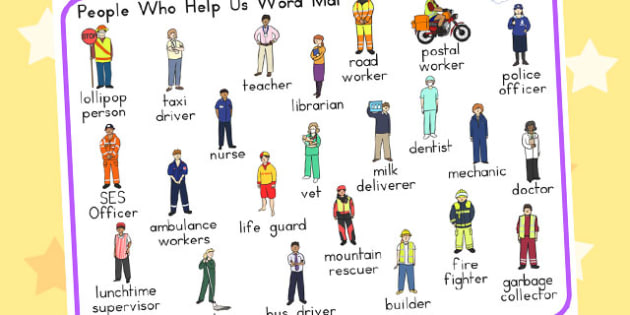 People Who Help Us Word Mat - word mat, visual aid, keyword mat