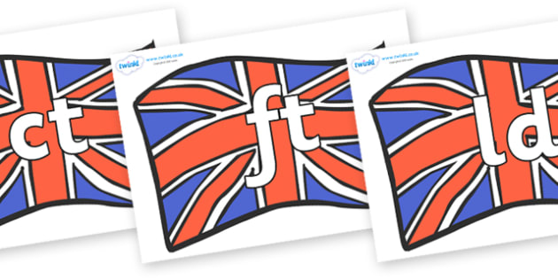 Final Letter Blends on British Flags - Final Letters, final letter, letter blend, letter blends, consonant, consonants, digraph, trigraph, literacy, alphabet, letters, foundation stage literacy
