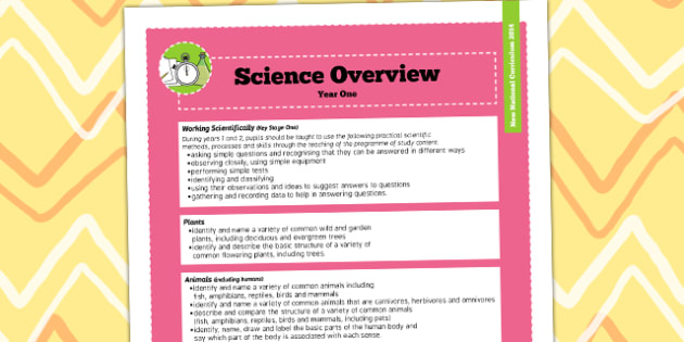 2014 Curriculum Year 1 Science Overview - new curriculum, plans