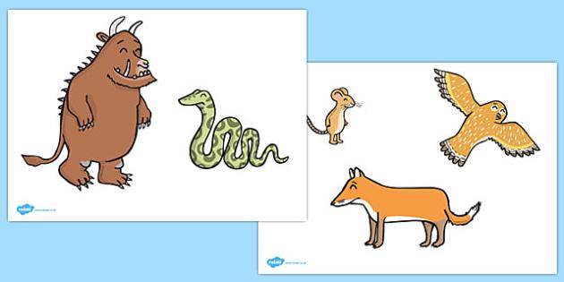 The Gruffalo Stick Puppets - The Gruffalo, resources, mouse, fox, owl, snake, Gruffalo, fantasy, rhyme, story, story book, story book resources, story sequencing, story resources, stick puppet