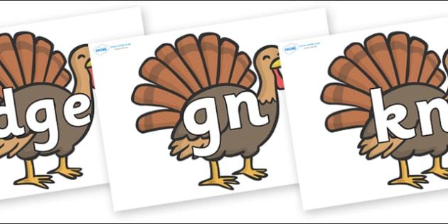 Silent Letters on Turkeys - Silent Letters, silent letter, letter blend, consonant, consonants, digraph, trigraph, A-Z letters, literacy, alphabet, letters, alternative sounds