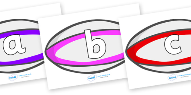 Phoneme Set on Rugby Balls - Phoneme set, phonemes, phoneme, Letters and Sounds, DfES, display, Phase 1, Phase 2, Phase 3, Phase 5, Foundation, Literacy