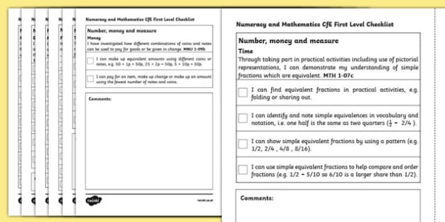 CfE First Level Numeracy and Mathematics Checklist-Scottish