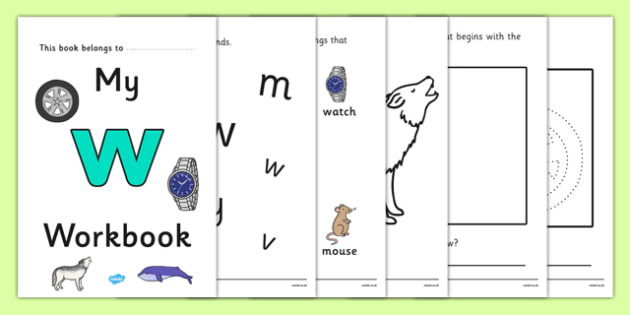 My Workbook w lowercase - workbook, w sound, lowercase, letters, alphabet, activity, handwriting, writing