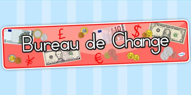 Bureau de Change Role Play Display Banner - burreau de change