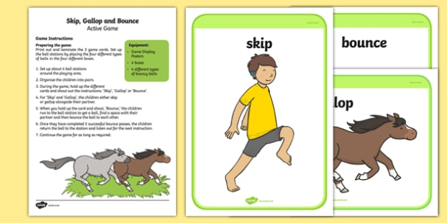 Skip, Gallop and Bounce Active Game - EYFS, Physical development, outdoor, activity