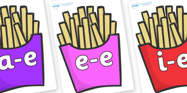 Modifying E Letters on French Fries - Modifying E, letters, modify, Phase 5, Phase five, alternative spellings for phonemes, DfES letters and Sounds