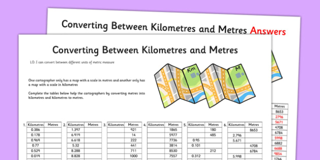 Converting Between Kilometres and Metres Activity Sheet - converting, kilometres, metres, activity, worksheet