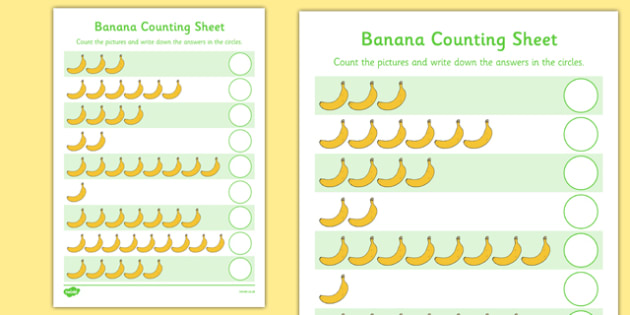Fairtrade Fortnight Banana Counting Activity Sheet - fairtrade fortnight, banana, fairtrade banana, counting activity, worksheet