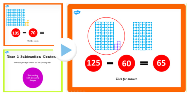 Y2 Subtracting 2 Digit Numbers Cross 100 Count Shapes PowerPoint