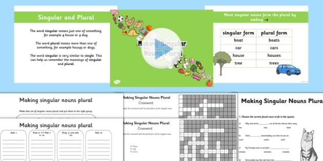 Making Singular Nouns Plural Lesson Teaching Pack - nouns, plural