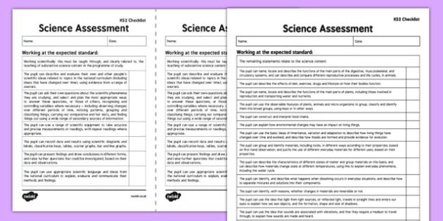 KS2 Science Exemplification Checklist - ks2, science, exemplification, checklist