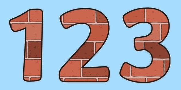 0-31 Display Numbers (Bricks) - Display numbers, 0-9, numbers, brick, houses and homes, display numerals, display lettering, display numbers, display, cut out lettering, lettering for display, display numbers