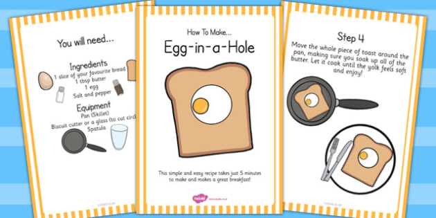 Egg in a Hole Recipe Cards - egg, hole, recipe, cards, cooking