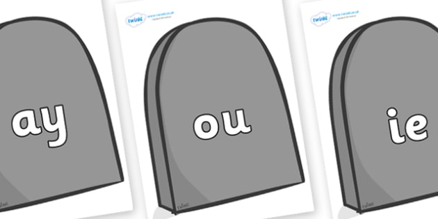Phase 5 Phonemes on Grave Stones - Phonemes, phoneme, Phase 5, Phase five, Foundation, Literacy, Letters and Sounds, DfES, display