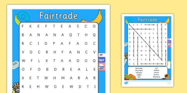 Fairtrade Fortnight Wordsearch Differentiated - fairtrade, words