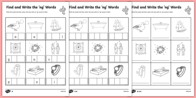 Find and Write the ng Words Differentiated Activity Sheet Pack, worksheet, ng and nk word ending worksheets