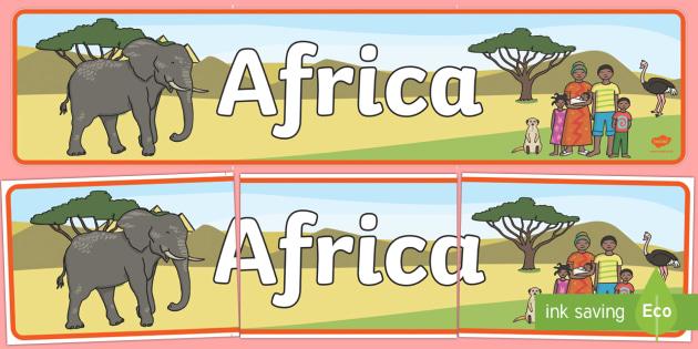 Africa Display Banner - Africa, Safari, poster, display, vines, A4, display, lion, cheetah, puma, jaguar, rhino, hippo, elephant, giraffe, antelope
