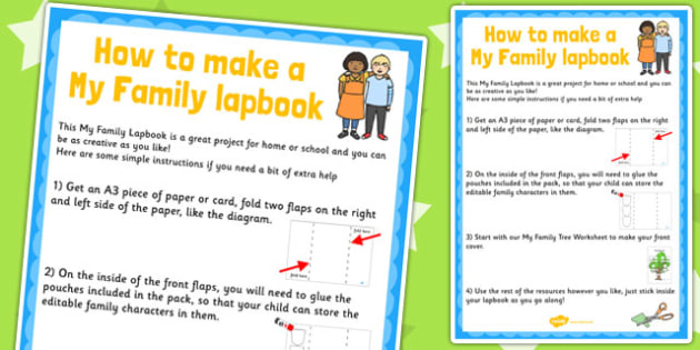My Family Lapbook Instructions Sheet - lapbooks, instructions