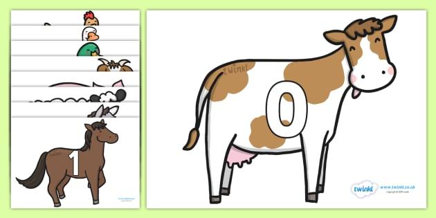 0 to 31 on Farm Animals - farm, on the farm, farm animals, numbers on farm animals, 0-31 on farm animals, 0-31 farm animals, farm animal counting