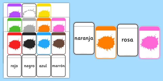 Spanish Colour Matching Flashcards - spanish, colours, matching