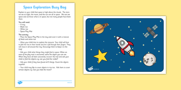 Space Exploration Activity Busy Bag and Resource Pack for Parents - Space, sensory play