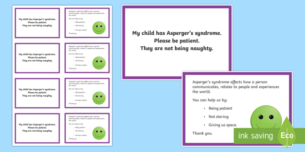 Autism (Asperger's Syndrome) Awareness Information Cards - ICE, in case of emergency, out and about, meltdowns, autism, ASD, parents, Asperger's syndrome