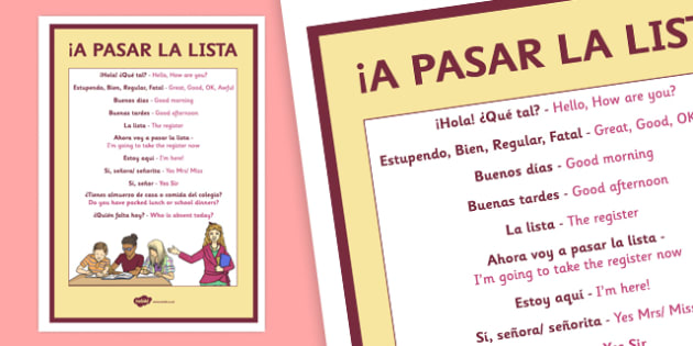 A Pasar La Lista Taking the Register in Spanish Poster English Translation - registration, register, Spanish, basic vocabulary, target language, display, poster