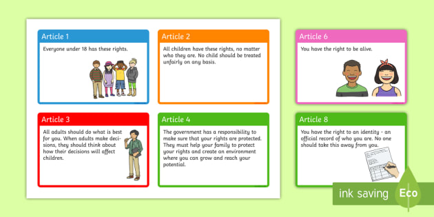 UN Rights of a Child A6 Display Cards - un, rights of a child, rights, child, a6, display cards, display, cards