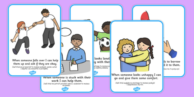 How To Be a Good Friend Cards Polish Translation - polish, how to be a good friend, friendship, friends, cards, flashcards, good, behaviour, friend, relationship