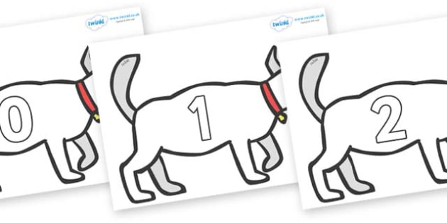 Numbers 0-50 on White Dog to Support Teaching on Brown Bear, Brown Bear - 0-50, foundation stage numeracy, Number recognition, Number flashcards, counting, number frieze, Display numbers, number posters
