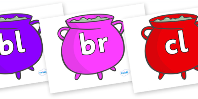 Initial Letter Blends on Cauldrons (Multicolour) - Initial Letters, initial letter, letter blend, letter blends, consonant, consonants, digraph, trigraph, literacy, alphabet, letters, foundation stage literacy