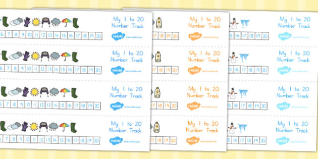 Winter Number track 1 20 - count, counting aid, counting, winter