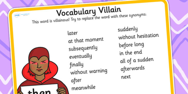 Vocabulary Villain Then Word Mat - then, word mat, topic words, key words, word list, keyword, words, key word mat, themed word mat, themed word list