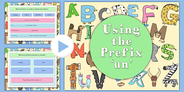 Using the Prefix un Teaching PowerPoint - prefixes, literacy
