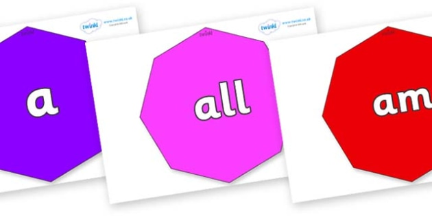 Foundation Stage 2 Keywords on Octagons - FS2, CLL, keywords, Communication language and literacy,  Display, Key words, high frequency words, foundation stage literacy, DfES Letters and Sounds, Letters and Sounds, spelling