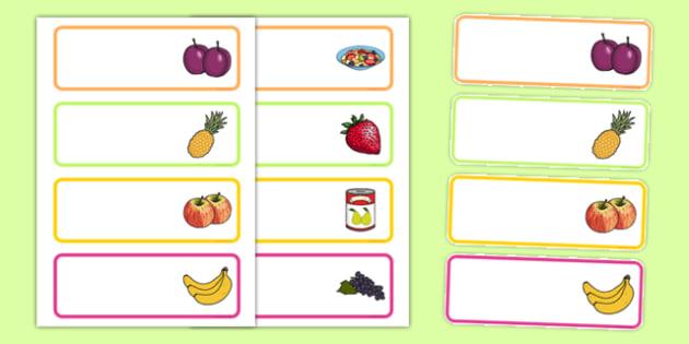 Fruit Salad Editable Drawer Peg Name Labels - olivers fruit salad, fruit salad, drawer, peg, name, labels, display