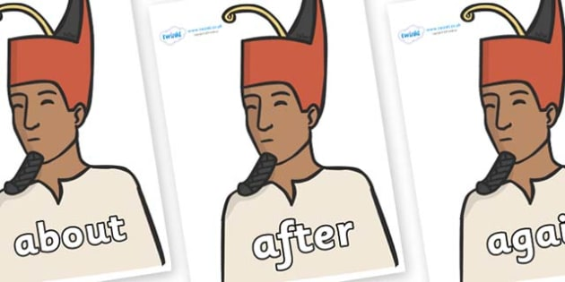 KS1 Keywords on Egyptian Kings - KS1, CLL, Communication language and literacy, Display, Key words, high frequency words, foundation stage literacy, DfES Letters and Sounds, Letters and Sounds, spelling