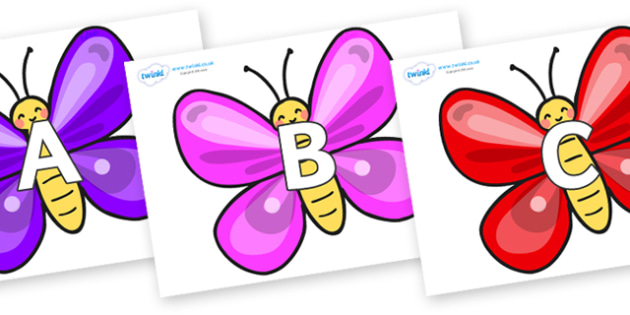 A-Z Alphabet on Butterflies - A-Z, A4, display, Alphabet frieze, Display letters, Letter posters, A-Z letters, Alphabet flashcards