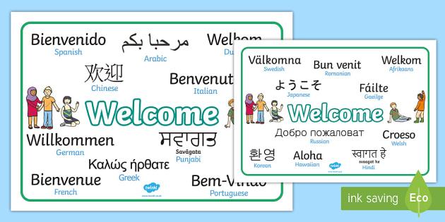Mixed Language Welcome Word Mats - Welcome sign, bienvenido, bienvenue, wilkommen, welcome, language, differernt languages
