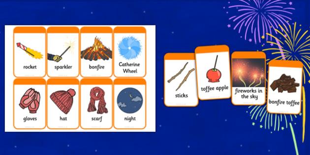 Bonfire Night Picture Cards - bonfire night, picture, cards, bonfire, night